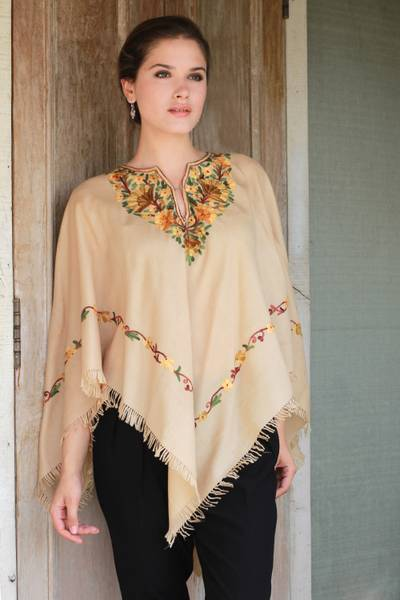 Wool poncho, 'Aari Princess' - Aari Wool Poncho with Floral Motifs and Fringes from India
