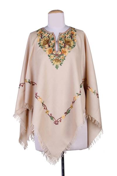 Aari Wool Poncho with Floral Motifs and Fringes from India
