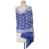 Cotton batik shawl, 'Garden of Blue' - 100% Cotton Batik Shawl with Spiral Print Handmade in India