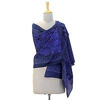 Cotton batik shawl, 'Blue Wonder' - 100% Cotton Batik Shawl with Swirl Print Handmade in India