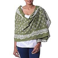 Cotton batik shawl, 'Garden Delight' - 100% Cotton Batik Shawl in Olive Green with White Motif