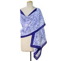 Cotton batik shawl, 'Splitting Beauty' - 100% Cotton Batik Shawl in Shades of Blue Handmade in India