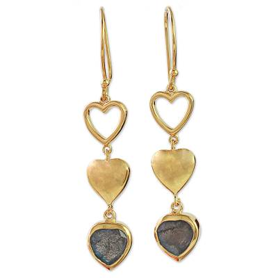 Gold Plated and Labradorite Heart Hook Earrings from India