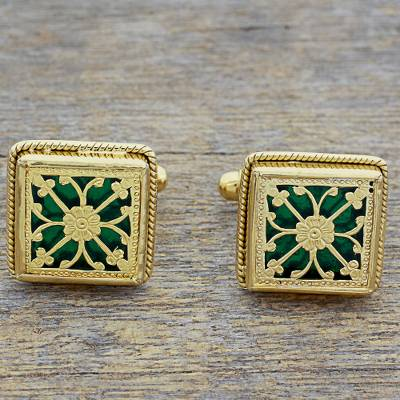 Gold plated cufflinks, 'Majestic Tendrils' - Hand Made Green Gold Sterling Silver Cufflinks from India