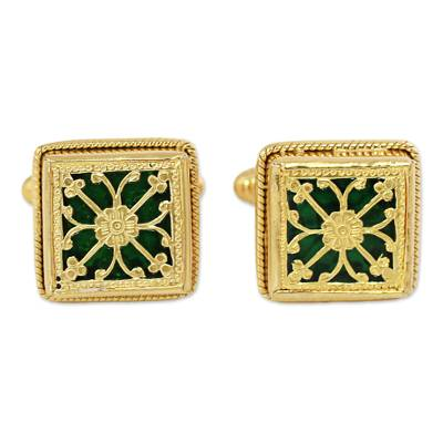 Hand Made Green Gold Sterling Silver Cufflinks from India