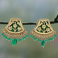 Gold plated onyx chandelier earrings, 'Green Glamour' (India)