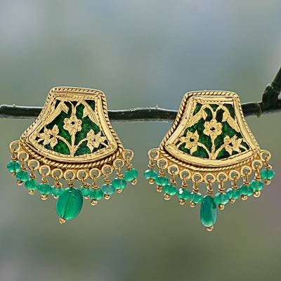 Gold plated onyx chandelier earrings, 'Green Glamour' - Handmade Gold Sterling Silver Chandelier Earrings India