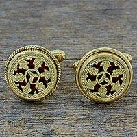 Gold plated cufflinks, 'Floral Wheels' - Hand Made Gold Plated Floral Cufflinks from India