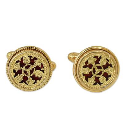 Hand Made Gold Plated Floral Cufflinks from India