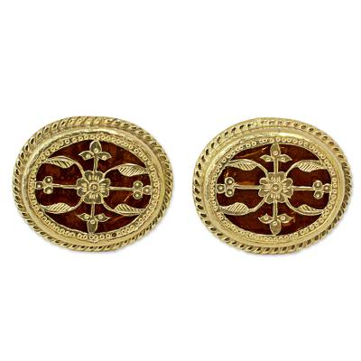 Hand Made Gold and Glass Cufflinks from India