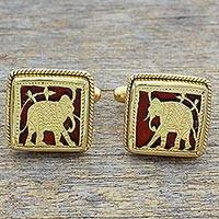 Gold plated cufflinks, 'Royal Ride in Red' - Hand Made Red Gold Silver Elephant Cufflinks from India