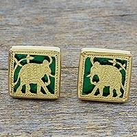 Gold plated cufflinks, 'Royal Ride in Green' - Hand Made Green Gold Silver Elephant Cufflinks from India