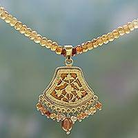 Gold plated hessonite pendant necklace,