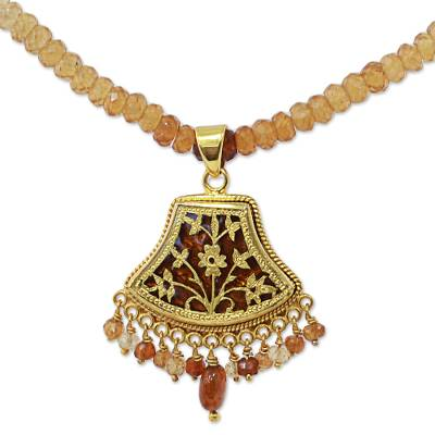 Gold plated hessonite pendant necklace, 'Floral Allure' - Hand Made Gold Silver Hessonite Pendant Necklace India