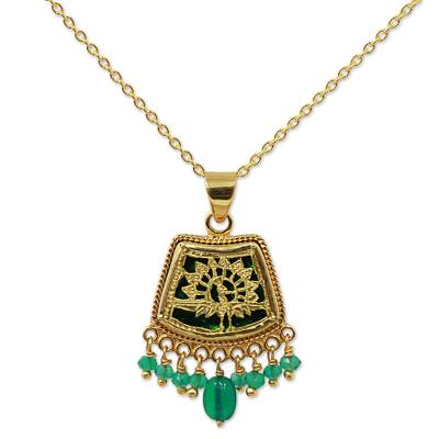 Hand Made Gold Sterling Silver Onyx Pendant Necklace India