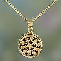 Gold plated pendant necklace, Circle of Flowers - Gold Openwork Floral Pendant Necklace from India