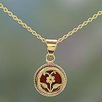 Gold plated pendant necklace, 'Floral Disc' - Gold Plated Silver Floral Pendant Necklace from India