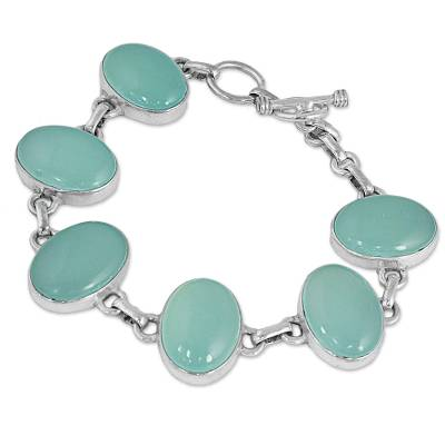 Hand Made Aqua Chalcedony Silver Link Bracelet from India