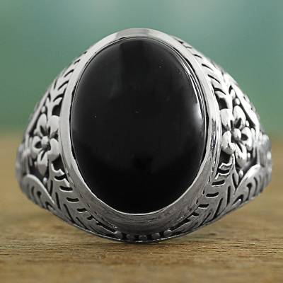 silver band with pearl ring - Onyx and Sterling Silver Cocktail Ring with Floral Motif