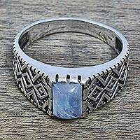 Rainbow moonstone cocktail ring, 'Heaven Above' - Rainbow Moonstone and Zig Zag Design Sterling Silver Ring