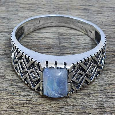 unique rings louisville ky - Rainbow Moonstone and Zig Zag Design Sterling Silver Ring