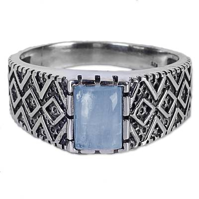 Rainbow Moonstone and Zig Zag Design Sterling Silver Ring