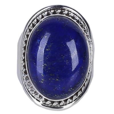 Lapis Lazuli Sterling Silver Ring Handmade in India