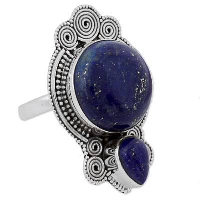 Hand Made Lapis Lazuli Cocktail Ring Rava Motif India