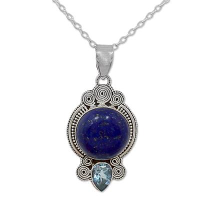 Hand Made Lapis Lazuli Blue Topaz Pendant Necklace India