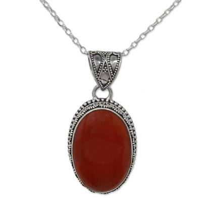 Hand Made Red Carnelian Pendant Necklace from India