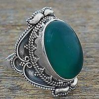 Onyx cocktail ring, 'Green Splendor' - Hand Made Sterling Silver Green Onyx Cocktail Ring India