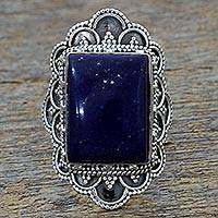 Lapis lazuli cocktail ring, 'Starry Splendor' - Hand Made Sterling Silver Lapis Lazuli Cocktail Ring India
