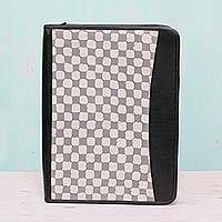 Leather accented cotton batik portfolio, 'Checkered Stone' - Batik Cotton File Holder Checkered Motif in Stone from India