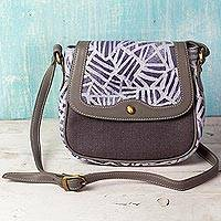 Leather accent cotton batik shoulder bag, 'Entangled Leaves' - Batik Printed Cotton and Leather Shoulder Bag from India
