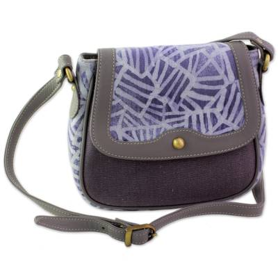 Batik Printed Cotton and Leather Shoulder Bag from India