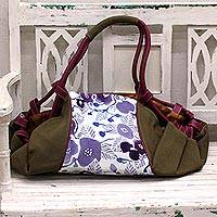 Leather accent cotton batik duffel bag, 'Flowery Cheer' - Batik Printed Cotton and Leather Duffel Bag from India