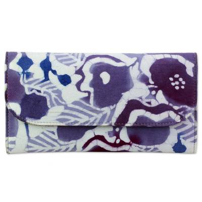 Batik Printed Cotton and Leather Floral Wallet from India