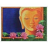 'Inner Peace' - Original Signed Painting Buddha Floral Motif from India