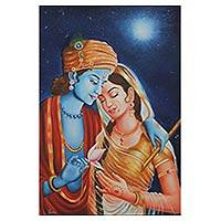 'Eternal Love' (2016) - Original Oil on Canvas Painting of Krishna from India