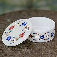 Marble inlaid jewelry box, 'Fantasy Flower' - Hand Made Marble Box with Floral Inlays from India