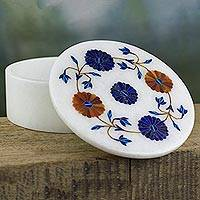Marble inlaid jewelry box, 'Flower Ring' - Indian Marble Jewelry Box with Floral Motif of Inlaid Stones