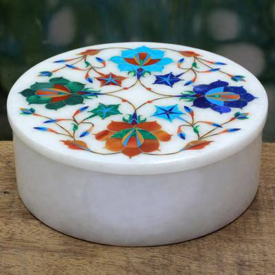 Marble jewelry box, 'Floral Jubilee' - Indian Hand Carved Marble Jewelry Box With Floral Top
