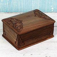 Walnut wood jewelry box, 'Fine Flora' - Hand Carved Walnut Wood Jewelry Box from India