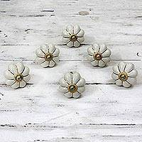 Ceramic cabinet knobs, 'Pale Floral Beauties' (set of 6) - Ceramic Cabinet Knobs Floral Off-White (Set of 6) India