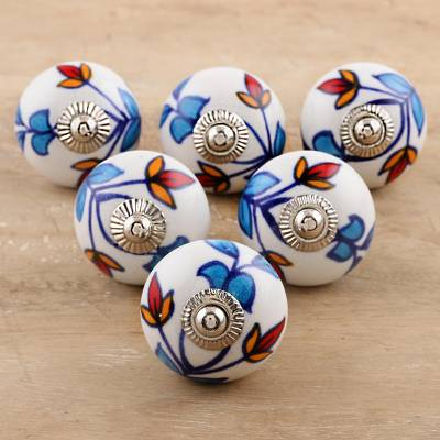 Ceramic cabinet knobs, 'Vibrant Beauty' (set of 6) - Ceramic Cabinet Knobs Floral (Set of 6) from India