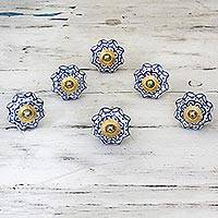 Ceramic cabinet knobs, 'Radiant Blue Flowers' (set of 6) - Ceramic Brass Cabinet Knobs Floral (Set of 6) from India