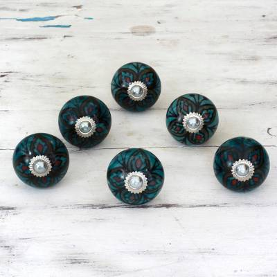 Ceramic cabinet knobs, 'Floral Helpers' (set of 6) - Ceramic Brass Cabinet Knobs Floral Green (Set of 6) India