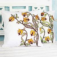 Cotton cushion covers, 'Spring Grandeur' (pair) - Leaf and Flower Cushion Cover Pair Embroidered in India