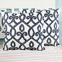 Embroidered cotton cushion covers, 'Blue Burning Flame' (pair) - Set of Two Blue and White Embroidered Square Cushion Covers