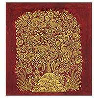 Kalamkari painting, 'Golden Spring I' - Indian Original Painting on Canvas Tree of Life in Gold